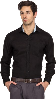 Logo Apparel Men,s Solid Formal Linen Black Shirt