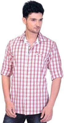 GoPlay Men's Checkered Casual Linen White Shirt