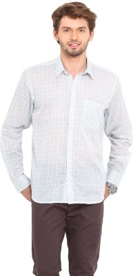 Ekmatra Men's Printed Casual White Shirt