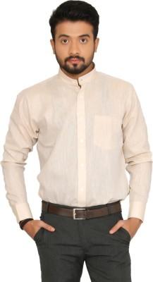 Indian Weller Men's Woven Casual Linen Beige Shirt
