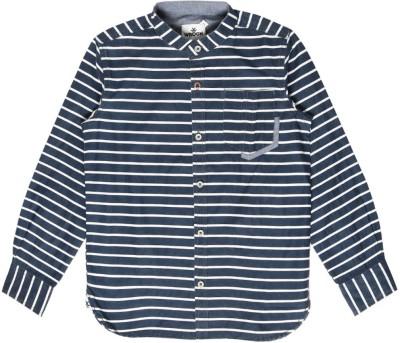 WROGN for Tweens Boy's Striped Casual Reversible Dark Blue Shirt
