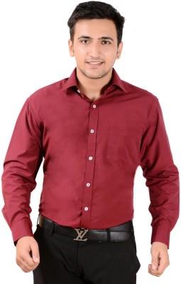 MOISTURE Men's Solid Formal Maroon Shirt
