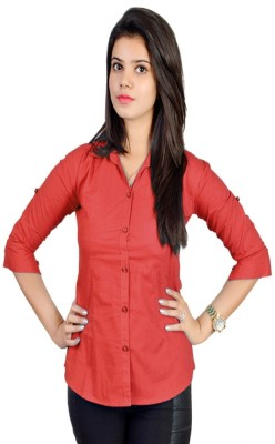 Jazzy Ben Women,s Solid Formal Red Shirt