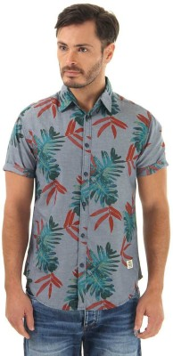 Jack & Jones Men's Floral Print Casual Blue Shirt