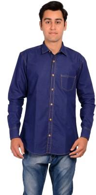 MOZYBO Men's Solid Formal Denim Dark Blue Shirt