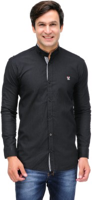 Nexq Men's Solid Casual Linen Black Shirt
