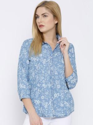 Oner Women,s Printed Casual Denim Blue Shirt