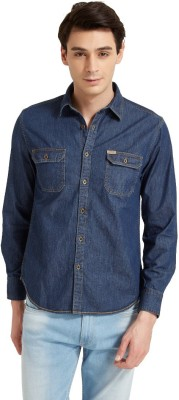Flying Machine Men's Solid Casual Blue Shirt