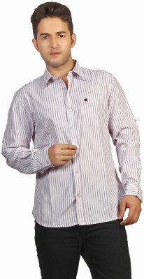 P4 Men's Striped Casual Purple Shirt