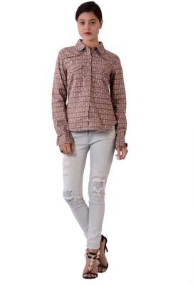 Fashnopolism Women's Geometric Print Casual Grey, Pink Shirt