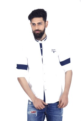 MOZAC Men,s Solid Casual White Shirt