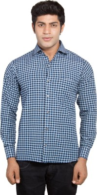 Nauhwar Men's Checkered Formal Blue Shirt