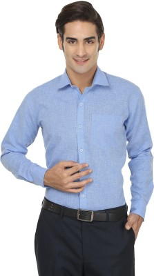 Jainish Men's Solid Formal Blue Shirt