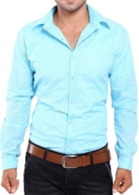 Aaral Men's Solid Casual Light Blue Shirt