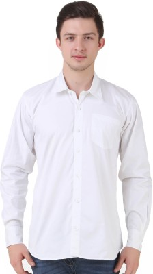 4 Stripes Men's Solid Casual White Shirt