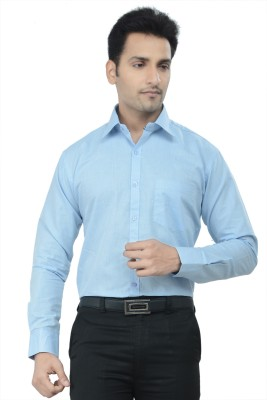 Gold Coin Men's Solid Formal Blue Shirt