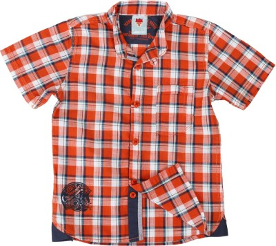Ice Boys Boy's Checkered Casual Orange Shirt