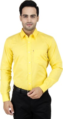 LEAF Men,s Solid Formal Yellow Shirt