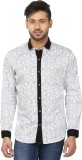 Louis Martin Men's Printed Casual White,...