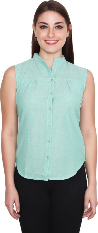 NumBrave Women's Solid Casual Green Shirt