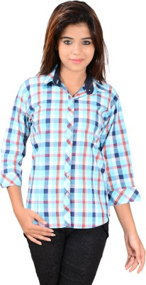 Jazzy Ben Women,s Checkered Casual Blue Shirt