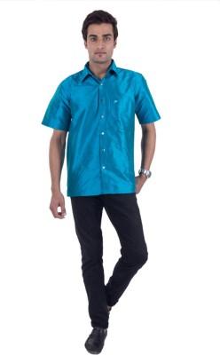 Scot Wilson Men's Solid Casual Blue Shirt