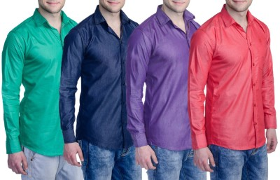 Aligatorr Men's Solid Formal Red, Purple, Blue, Green Shirt