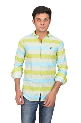 Suzee Men's Striped Casual Green, Blue Shirt