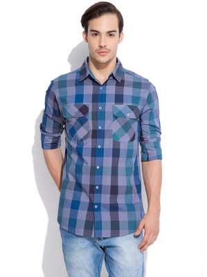 Silly People Men's Checkered Casual Grey Shirt