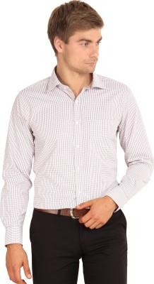 I-Voc Men's Checkered Formal White, Maroon Shirt