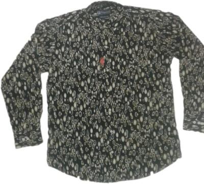 rc Men's Self Design Casual Black Shirt