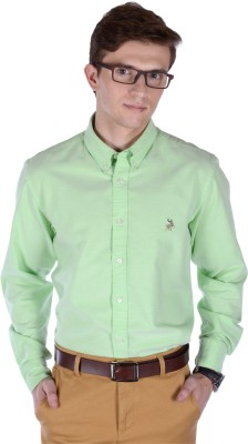FRANK JEFFERSON Men's Solid Casual Light Green Shirt