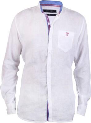 Hash Luxury Men's Solid Casual Linen White Shirt