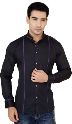 X-Secret Men's Self Design Casual Black Shirt