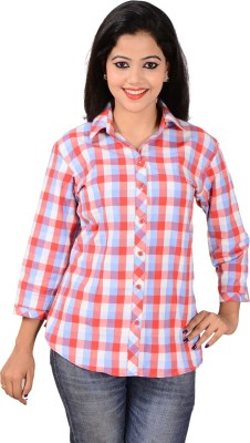 Jazzy Ben Women,s Checkered Casual Red, White Shirt