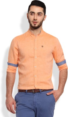 Oxford Club Men's Solid Casual Linen Orange Shirt