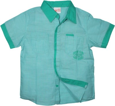 FS Mini Klub Boy's Striped Casual Green Shirt