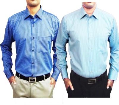Shine Shirts Men's Striped Formal Blue Shirt
