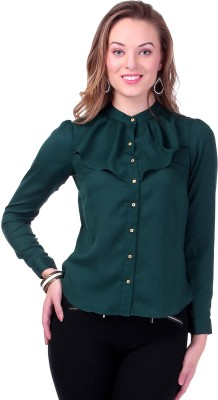 Sassafras Women's Solid Casual, Party, Formal Green Shirt