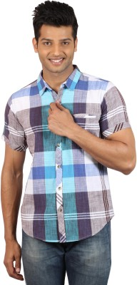 Le Tailor Men's Striped Casual Black, Green Shirt