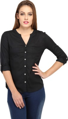 Cation Women's Solid Casual Black Shirt