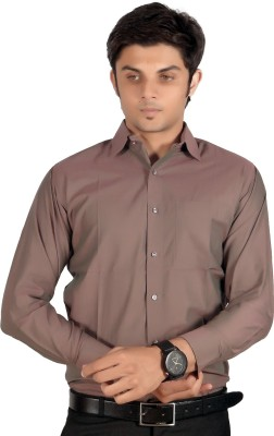 Proactive Men's Solid Formal Brown Shirt