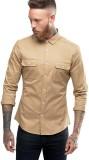 Essential Men's Solid Casual Beige Shirt