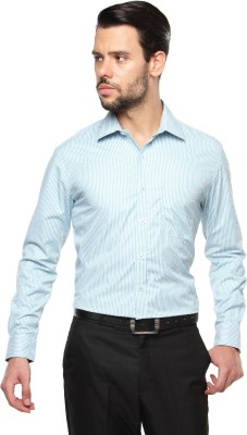 British Club Men's Striped Formal Green, White Shirt