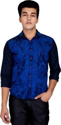 Jhon Poul Men's Printed Casual Blue, Black Shirt