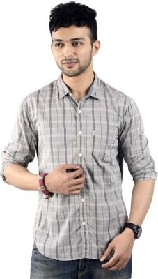St. Germain Men's Checkered Casual Beige Shirt