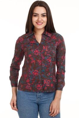 Mustard Women's Printed Casual Brown Shirt