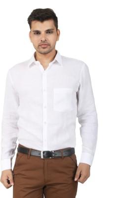 crazy4white Men's Solid Formal Linen White Shirt