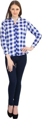kellan Women's Checkered Casual Light Blue Shirt