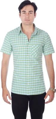 Darzii Men's Checkered Casual White, Green, Yellow Shirt